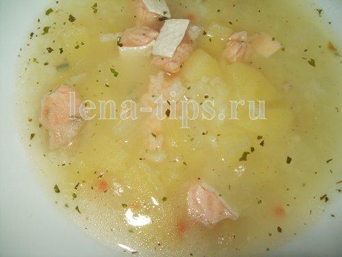 Суп с брюшками семги в мультиварке
