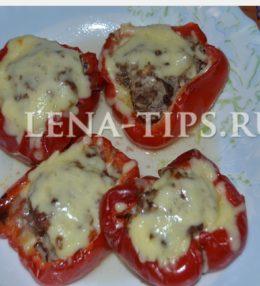 Лодочки из болгарского перца с фаршем в духовке фото-рецепт